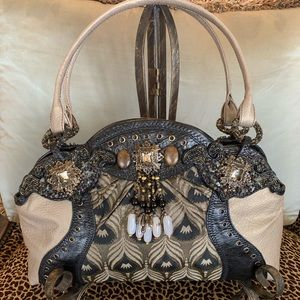 Stunning Leather Mary Frances Bag. Like New D/B